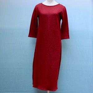 Eileen Fisher Wool Full Length Basic Red Dress S